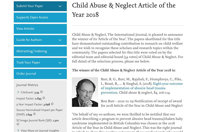 British Columbia Team Wins Child Abuse & Neglect Article of the Year for PURPLE Study