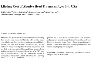 Lifetime Cost of Abusive Head Trauma at Ages 0-4 Estimated $13.5 Billion